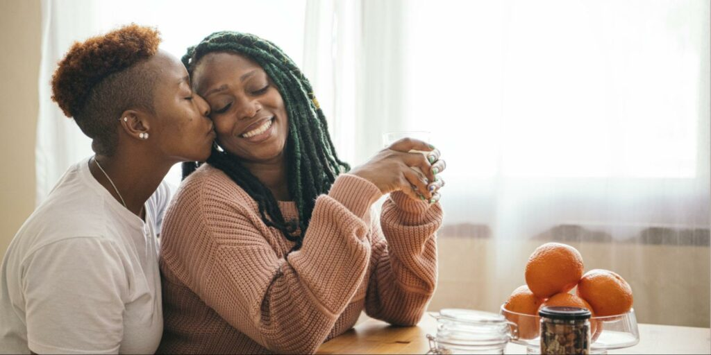 a same sex female couple to represent tips for lgbtq+ couples building a family